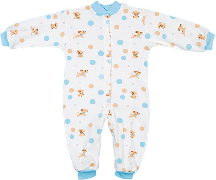 Комбинезон домашний для мальчика Чудесные одежки, цвет: белый, бежевый, голубой. 5843. Размер 865843