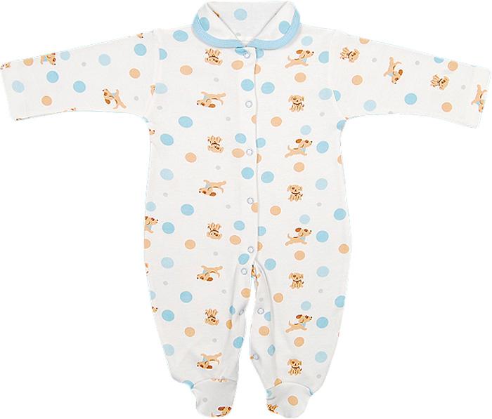 Комбинезон домашний для мальчика Чудесные одежки, цвет: белый, бежевый, голубой. 5845. Размер 805845