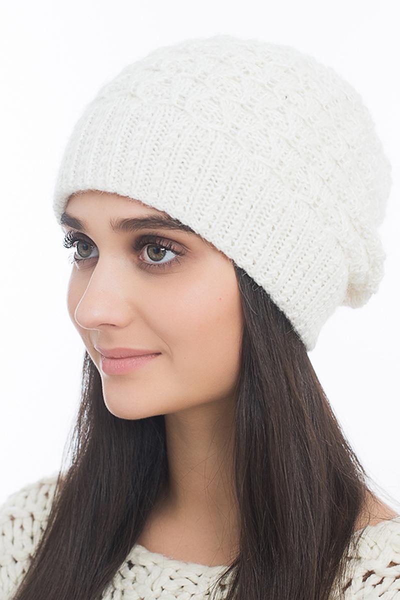 Шапка женская Marhatter, цвет: белый. MWH6767/3. Размер 56/58MWH6767/3Стильная шапка, выполнена из высококачественной пряжи. Модель очень актуальна для тех, кто ценит комфорт, стиль и красоту. Отличный вариант на каждый день.