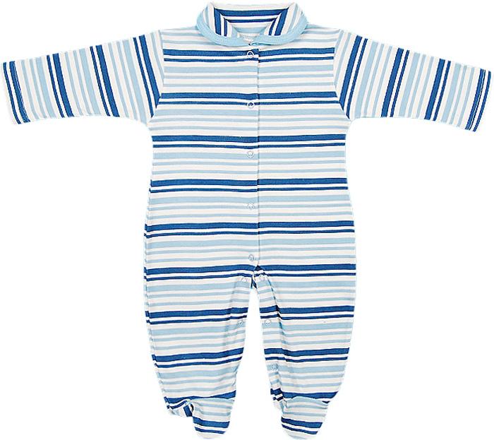 Комбинезон домашний для мальчика Чудесные одежки, цвет: белый, синий. 5845. Размер 565845Детский комбинезон Чудесные одежки - очень удобный и практичный вид одежды для малышей. Комбинезон выполнен из интерлока - натурального хлопка, благодаря чему он необычайно мягкий и приятный на ощупь, не раздражает нежную кожу ребенка, и хорошо вентилируются, а эластичные швы приятны телу малыша и не препятствуют его движениям. Комбинезон с длинными рукавами, закрытыми ножками и отложным воротничком имеет застежки-кнопки от горловины до щиколоток, которые помогают легко переодеть младенца или сменить подгузник. С детским комбинезоном спинка и ножки вашего малыша всегда будут в тепле, он идеален для использования днем и незаменим ночью. Комбинезон полностью соответствует особенностям жизни младенца в ранний период, не стесняя и не ограничивая его в движениях!