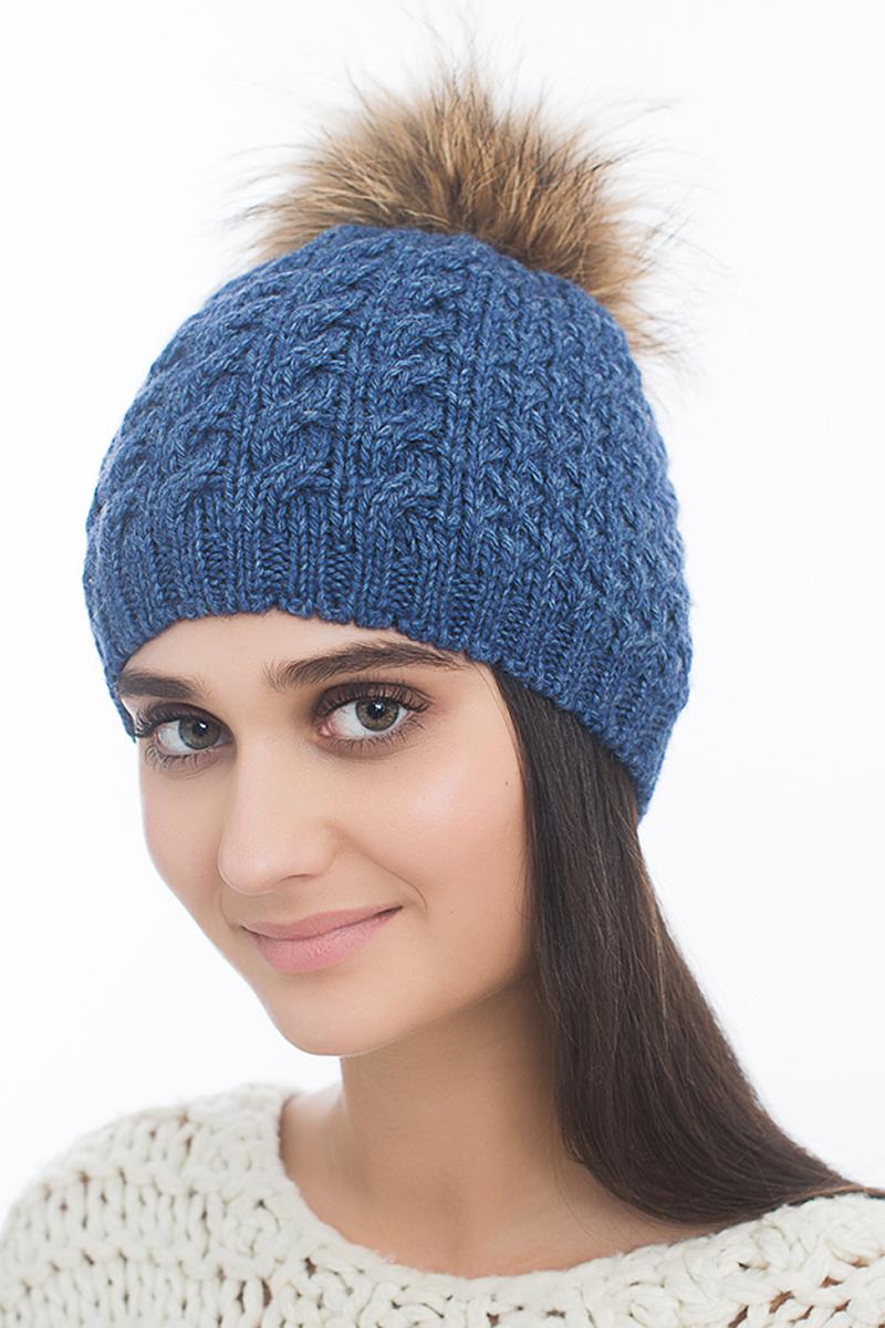 Шапка женская Marhatter, цвет: синий. Размер 56/58. MWH6754/2MWH6754/2Стильная шапка с помпоном из натурального меха, выполнена из ангоровой пряжи. Модель очень актуальна для тех, кто ценит комфорт, стиль и красоту.