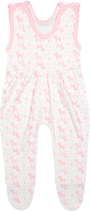 Ползунки для девочки Чудесные одежки, цвет: белый, розовый. 5281. Размер 805281