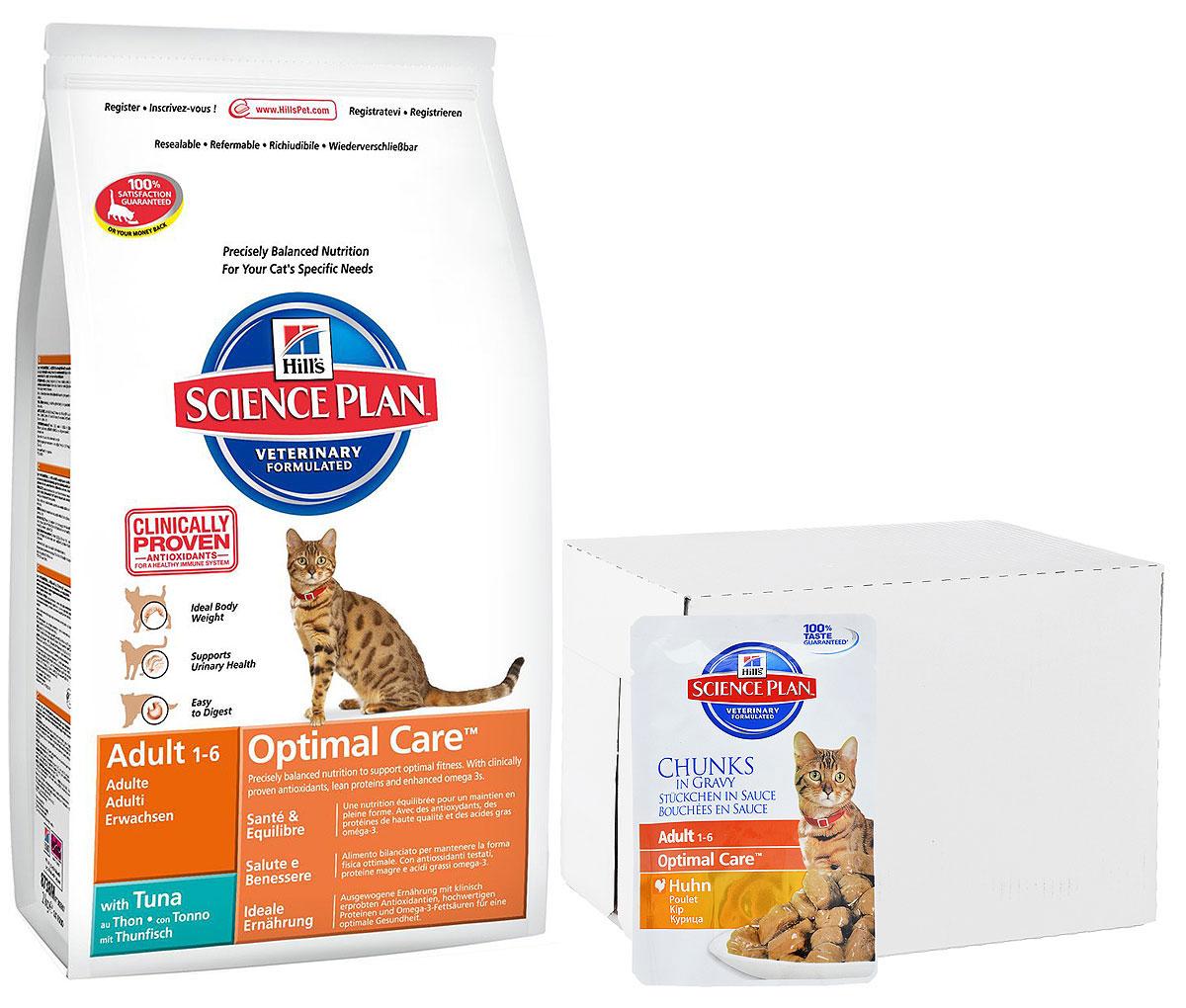 Корм сухой для кошек Hills Optimal Care, тунец, 10 кг + ПОДАРОК: Консервы для кошек Hills, курица, 85 г, 16 шт4231Hill's Science Plan - это полноценное, точно сбалансированное питание, приготовленное из ингредиентов высокого качества, без добавления красителей и консервантов. Каждый рацион Science Plan содержит эксклюзивный комплекс антиоксидантов с клинически подтвержденным эффектом для поддержки иммунной системы Вашего питомца.Если вы решили перевести вашу кошку на рацион Hills Science Plan, это необходимо сделать постепенно в течение 7 дней. Смешивайте прежний корм с новым, постоянно увеличивая долю последнего до полного перехода на Hills Science Plan. Тогда ваш питомец сможет в полной мере насладиться вкусом и преимуществами превосходного питания, которое обеспечивает рацион Hills Science Plan.Рекомендуется• Кошкам в возрасте от 1 до 7 лет.Не рекомендуется• Котятам• Беременным и кормящим кошкам. Во время беременности и лактации кошек нужно переводить на рацион для котят Hills Science Plan Kitten Healthy Development (Гармоничное развитие).Ключевые преимущества• Высокая энергетическая ценность удовлетворяет потребность животного в энергии без необходимости скармливать большие порции• Контролируемое содержание протеинов и натрия - точный баланс нутриентов для крепкого здоровья (не допускает избытка нутриентов, который может навредить здоровью)• Контролируемое содержание магния и фосфора поддерживает здоровье мочевыводящих путей• Комплекс антиоксидантов нейтрализует действие свободных радикалов и поддерживает иммунитет• Превосходные вкусовые характеристики не оставят Вашего питомца равнодушным• Рацион Science Plan Feline Adult 1-6 Optimal Care доступен во многих вкусовых вариантах, в сухом, консервированном виде, и в форме паучей, что позволяет разнообразить питание Вашего любимцаИнгредиенты сухого рационаС тунцом: Мука из курицы и индейки, рис, животный жир, мука из кукурузного глютена, мука из тунца (8%), минералы, гидролизат белка, высушенная мякоть свеклы, хлори