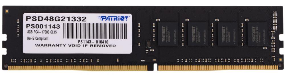 Patriot DDR4 8Gb 2133 МГц модуль оперативной памяти (PSD48G21332)PSD48G21332Небуферезированная память Patriot DDR4 PSD48G21332 предоставляет качество работы, надежность и производительность - основные требования для современных компьютеров.Объем модуля памяти в 8 ГБ позволит свободно работать со стандартными, офисными и профессиональными ресурсоемкими программами, а также современными требовательными играми. Работа осуществляется при тактовой частоте 2133 МГц и пропускной способности, достигающей до 17000 Мб/с, что гарантирует качественную синхронизацию и быструю передачу данных, а также возможность выполнения множества действий в единицу времени. Тайминг CL-15 гарантирует быструю работу системы. Модули памяти Patriot изготовлены из материалов высочайшего качества и протестированы вручную. Patriot заверяет, что каждый модуль памяти соответствует и превышает стандарты отрасли: апгрейд безо всяких замешательств.