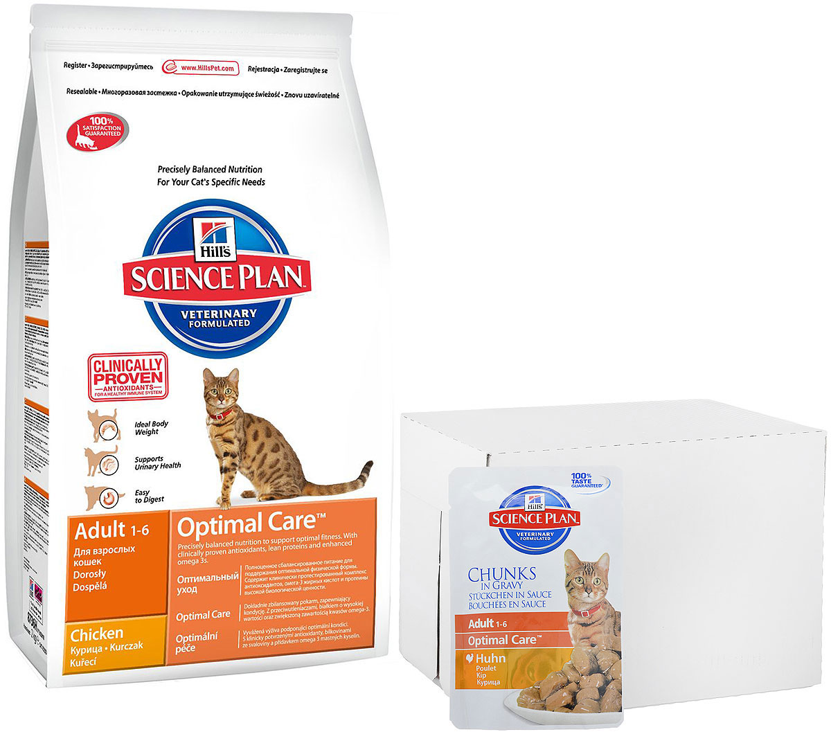Корм сухой Hills Optimal Care, для взрослых кошек, курица, 10 кг + ПОДАРОК: Консервы для кошек Hills, курица, 85 г, 16 шт4296Hills Optimal Care - это полноценное, точно сбалансированное питание, приготовленное из ингредиентов высокого качества, без добавления красителей и консервантов. Каждый рацион Hills Optimal Care содержит эксклюзивный комплекс антиоксидантов с клинически подтвержденным эффектом для поддержки иммунной системы вашего питомца.Если вы решили перевести вашу кошку на рацион Hills Optimal Care, это необходимо сделать постепенно в течение 7 дней. Смешивайте прежний корм с новым, постоянно увеличивая долю последнего до полного перехода на Hills Optimal Care. Тогда ваш питомец сможет в полной мере насладиться вкусом и преимуществами превосходного питания, которое обеспечивает рацион Hills Optimal Care.Корм рекомендуется:- Кошкам в возрасте от 1 до 6 лет.Не рекомендуется:- Котятам.- Беременным и кормящим кошкам.Ключевые преимущества:- Высокая энергетическая ценность удовлетворяет потребность животного в энергии без необходимости скармливать большие порции.- Контролируемое содержание протеинов и натрия - точный баланс нутриентов для крепкого здоровья (не допускает избытка нутриентов, который может навредить здоровью).- Контролируемое содержание магния и фосфора поддерживает здоровье мочевыводящих путей.- Комплекс антиоксидантов нейтрализует действие свободных радикалов и поддерживает иммунитет.- Превосходные вкусовые характеристики не оставят вашего питомца равнодушным.В подарок к корму Hills Optimal Care идут 16 паучей с консервами Hills.Состав: курица: мука из курицы (36%) и индейки (общее содержание муки из мяса домашней птицы 56%), пшеница, кукуруза, мука из кукурузного глютена, размолотый рис, гидролизат белка, минералы, высушенная мякоть сахарной свеклы, рыбий жир, DL-метионин, таурин, витамины, L-лизина гидрохлорид, микроэлементы и бета-каротин. Натуральные консерванты из смеси токоферолов и лимонной кислоты.Гарантированный анализ: протеин 33,0 %, ж