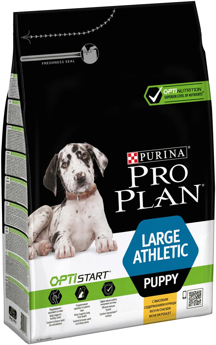 Корм сухой Pro Plan Athletic для щенков крупных пород, с курицей и рисом, 3 кг корм для собак pro plan athletic для крупных пород курица сух 14кг