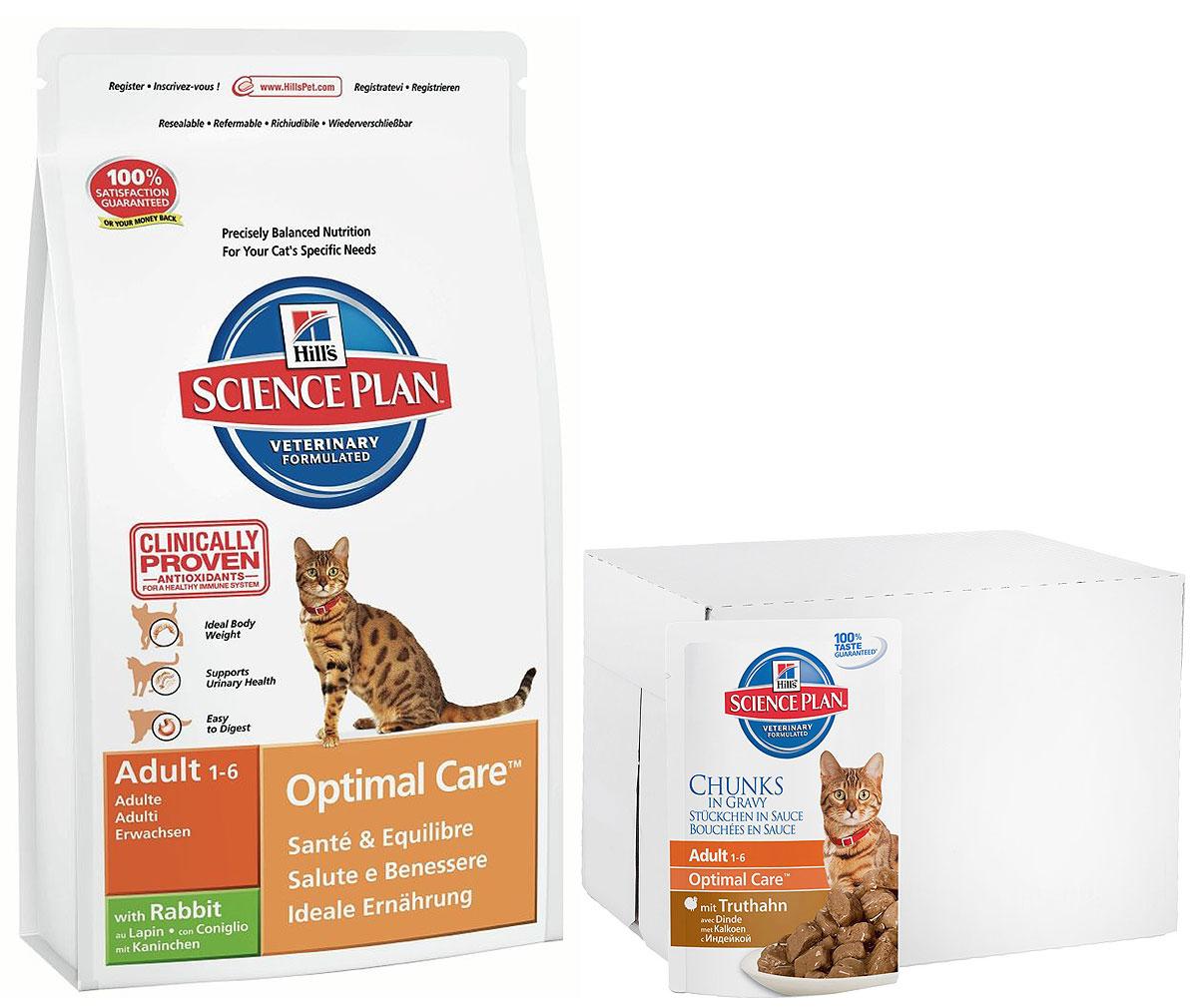 Корм сухой Hills Optimal Care, для взрослых кошек, кролик, 5 кг + ПОДАРОК: Консервы для кошек Hills, индейка, 85 г, 7 шт5150Hills Optimal Care - это полноценное, точно сбалансированное питание, приготовленное из ингредиентов высокого качества, без добавления красителей и консервантов. Каждый рацион Hills Optimal Care содержит эксклюзивный комплекс антиоксидантов с клинически подтвержденным эффектом для поддержки иммунной системы вашего питомца.Если вы решили перевести вашу кошку на рацион Hills Optimal Care, это необходимо сделать постепенно в течение 7 дней. Смешивайте прежний корм с новым, постоянно увеличивая долю последнего до полного перехода на Hills Optimal Care. Тогда ваш питомец сможет в полной мере насладиться вкусом и преимуществами превосходного питания, которое обеспечивает рацион Hills Optimal Care.Рекомендуется:- Кошкам в возрасте от 1 до 6 лет.Не рекомендуется:- Котятам.- Беременным и кормящим кошкам.Ключевые преимущества:- Высокая энергетическая ценность удовлетворяет потребность животного в энергии без необходимости скармливать большие порции.- Контролируемое содержание протеинов и натрия - точный баланс нутриентов для крепкого здоровья (не допускает избытка нутриентов, который может навредить здоровью).- Контролируемое содержание магния и фосфора поддерживает здоровье мочевыводящих путей.- Комплекс антиоксидантов нейтрализует действие свободных радикалов и поддерживает иммунитет.В подарок к сухому корму идут 7 паучей с консервированным кормом.Состав (с кроликом): мука из курицы и индейки, кукуруза, рис, животный жир, мука из кукурузного глютена, мука из мяса кролика (7%), минералы, гидролизат белка, высушенная мякоть свеклы, рыбий жир, таурин, L-лизина гидрохлорид, L-триптофан, витамины, микроэлементы и бета-каротин. Содержит натуральные консерванты – смесь токоферолов и лимонную кислоту.Гарантированный анализ: протеин 32,3 %, жиры 20,4 %, углеводы (БЭВ) 34,8 %, клетчатка (общая) 1,2 %, влага 5,5 %, кальций 0,92 %, фосфор 0,75 %, натрий 0,35 %, ка