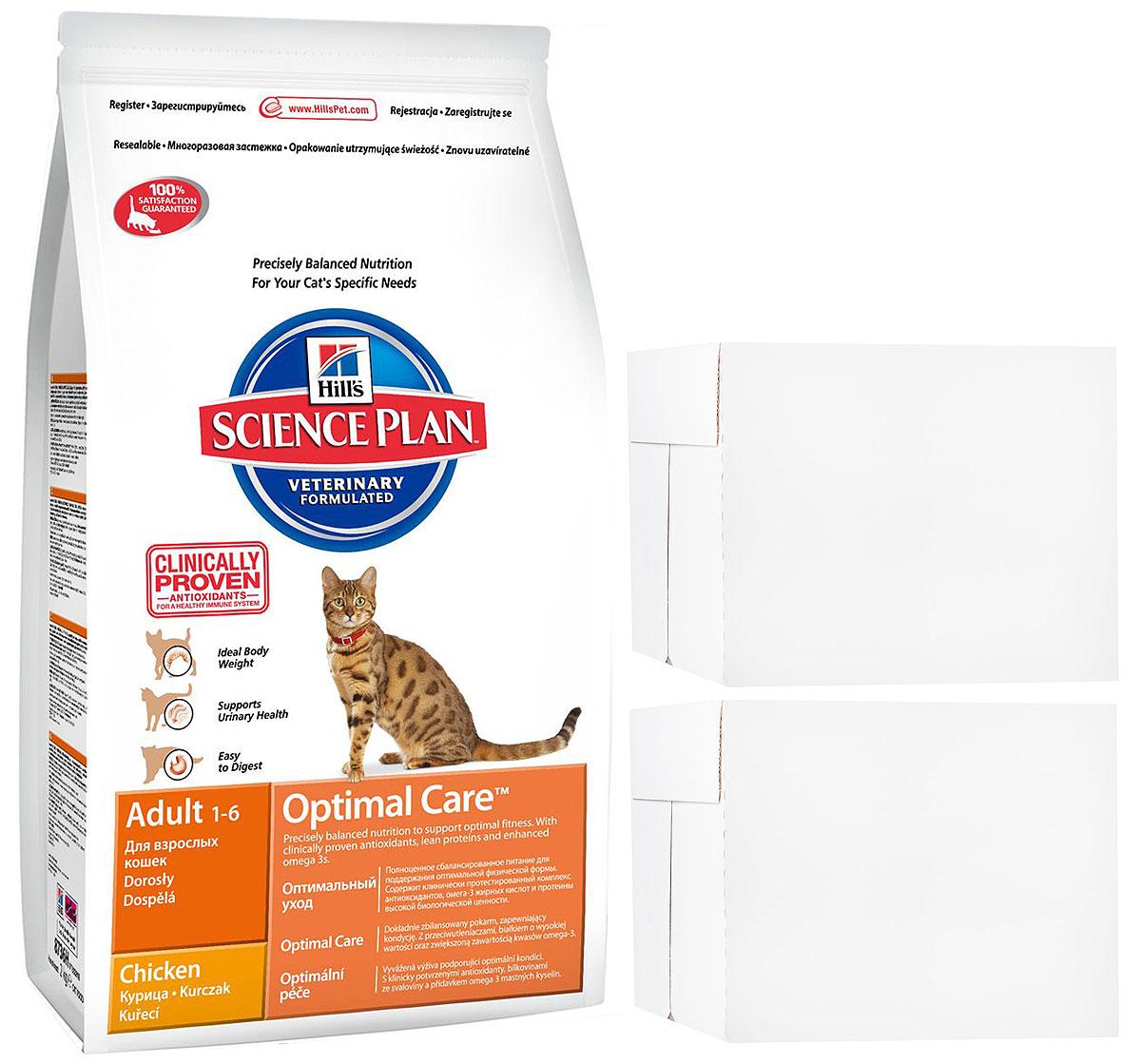 Корм сухой Hills Optimal Care, для взрослых кошек, курица, 15 кг + ПОДАРОК: Консервы для кошек Hills, курица, 85 г, 24 шт6291Hills Optimal Care - это полноценное, точно сбалансированное питание, приготовленное из ингредиентов высокого качества, без добавления красителей и консервантов. Каждый рацион Hills Optimal Care содержит эксклюзивный комплекс антиоксидантов с клинически подтвержденным эффектом для поддержки иммунной системы вашего питомца.Если вы решили перевести вашу кошку на рацион Hills Optimal Care, это необходимо сделать постепенно в течение 7 дней. Смешивайте прежний корм с новым, постоянно увеличивая долю последнего до полного перехода на Hills Optimal Care. Тогда ваш питомец сможет в полной мере насладиться вкусом и преимуществами превосходного питания, которое обеспечивает рацион Hills Optimal Care.Корм рекомендуется:- Кошкам в возрасте от 1 до 6 лет.Не рекомендуется:- Котятам.- Беременным и кормящим кошкам.Ключевые преимущества:- Высокая энергетическая ценность удовлетворяет потребность животного в энергии без необходимости скармливать большие порции.- Контролируемое содержание протеинов и натрия - точный баланс нутриентов для крепкого здоровья (не допускает избытка нутриентов, который может навредить здоровью).- Контролируемое содержание магния и фосфора поддерживает здоровье мочевыводящих путей.- Комплекс антиоксидантов нейтрализует действие свободных радикалов и поддерживает иммунитет.- Превосходные вкусовые характеристики не оставят вашего питомца равнодушным.В подарок к корму Hills Optimal Care идут 24 пауча с консервами Hills.Состав: курица: мука из курицы (36%) и индейки (общее содержание муки из мяса домашней птицы 56%), пшеница, кукуруза, мука из кукурузного глютена, размолотый рис, гидролизат белка, минералы, высушенная мякоть сахарной свеклы, рыбий жир, DL-метионин, таурин, витамины, L-лизина гидрохлорид, микроэлементы и бета-каротин. Натуральные консерванты из смеси токоферолов и лимонной кислоты.Гарантированный анализ: протеин 33,0 %, жи