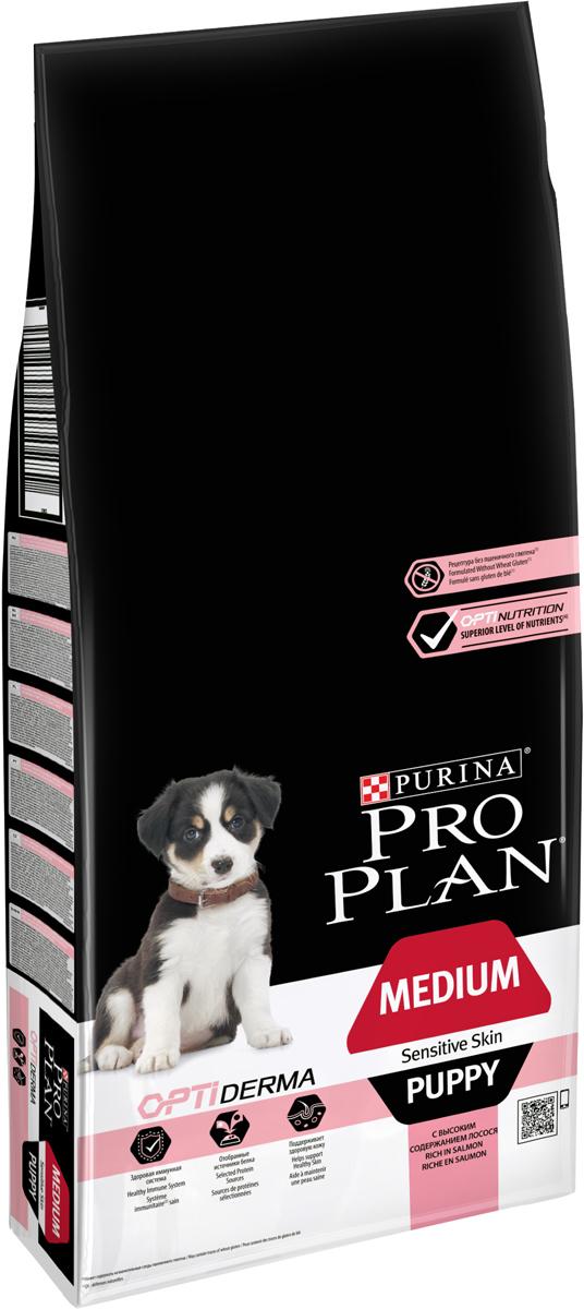 Корм сухой Pro Plan Puppy Medium Sensitive Skin, для щенков средних пород весом от 10 до 25 кг, с чувствительной кожей, с лососем и рисом, 12 кг