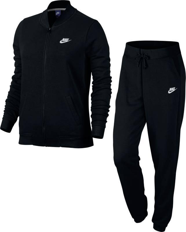 Спортивный костюм женский Nike NSW TRK Suit FT, цвет: черный. 831119-010. Размер M (46/48)831119-010Женский спортивный костюм Nike Sportswear, состоящий из олимпийки и брюк, обеспечивает абсолютный комфорт в спортивном стиле. Воротник в стиле школьной куртки создает стильный образ, а прямой крой брюк обеспечивает удобную посадку. Материал френч терри обеспечивает мягкость и комфорт без утяжеления.