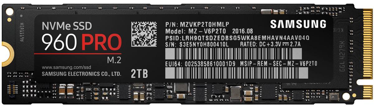 Samsung 960 PRO NVMe M.2 2TB SSD-накопитель (MZ-V6P2T0BW)459339Накопитель Samsung SSD 960 PRO предназначен для тяжелых рабочих нагрузок, обеспечивая высокую производительность и надежность в компактном корпусе. Разработанный в первую очередь для высококлассных ПК и рабочих станций, накопитель имеет 48-слойную архитектуру памяти в форм-факторе M.2.Высочайшие показатели скорости, достигнутые в тестах, обеспечивают высокую производительность в сложнейших задачах и расчетах под большими нагрузками с минимальной задержкой.Высокая производительность измеряется не только скоростью считывания/записи. Важным фактором также является объем и время сохранения этих характеристик. Накопители 960 PRO способны записать до 1.2 ПБ за время использования.Новой версия программы Magician - это улучшенного решения для мониторинга, управления и обслуживания накопителя. Программа Magician производит проверку прошивки и контроль дополнительных функций, выбранных пользователем для отдельных накопителей. Кроме того, эта программа автоматически обновляет прошивку, чтобы поддерживать производительность на самом высоком уровне.