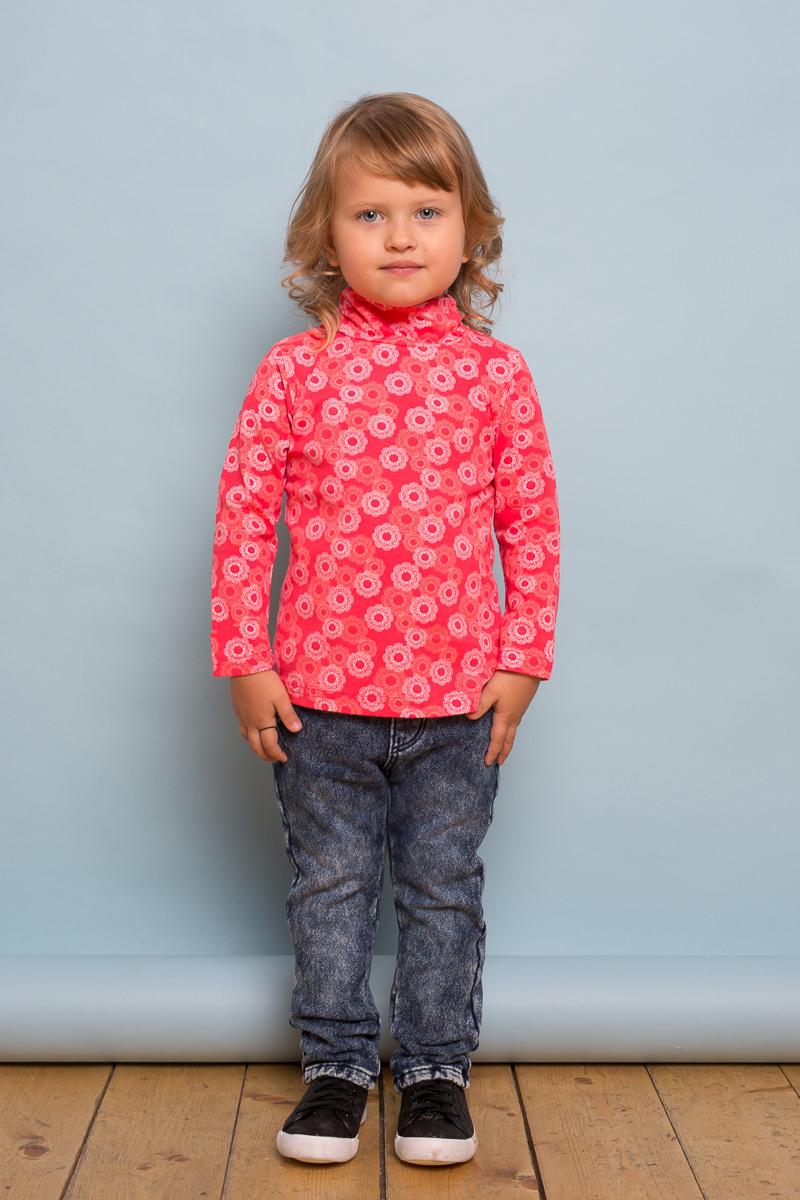 Водолазка для девочки Sweet Berry Baby, цвет: коралловый. 732123. Размер 98732123Яркая водолазка из трикотажной ткани для девочки с оригинальным печатным рисунком. Воротник-стойка декорирован эластичной сборкой. Застегивается на кнопочки.