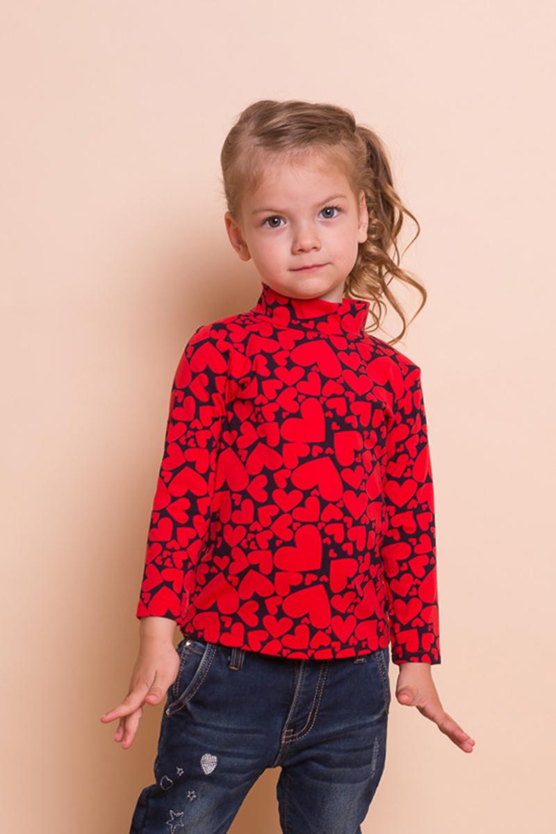 Водолазка для девочки Sweet Berry Baby, цвет: красный. 732036. Размер 92732036Яркая водолазка Sweet Berry Baby выполнена из трикотажной ткани для с оригинальным печатным рисунком. Воротник-стойка сзади застегивается на кнопочки.