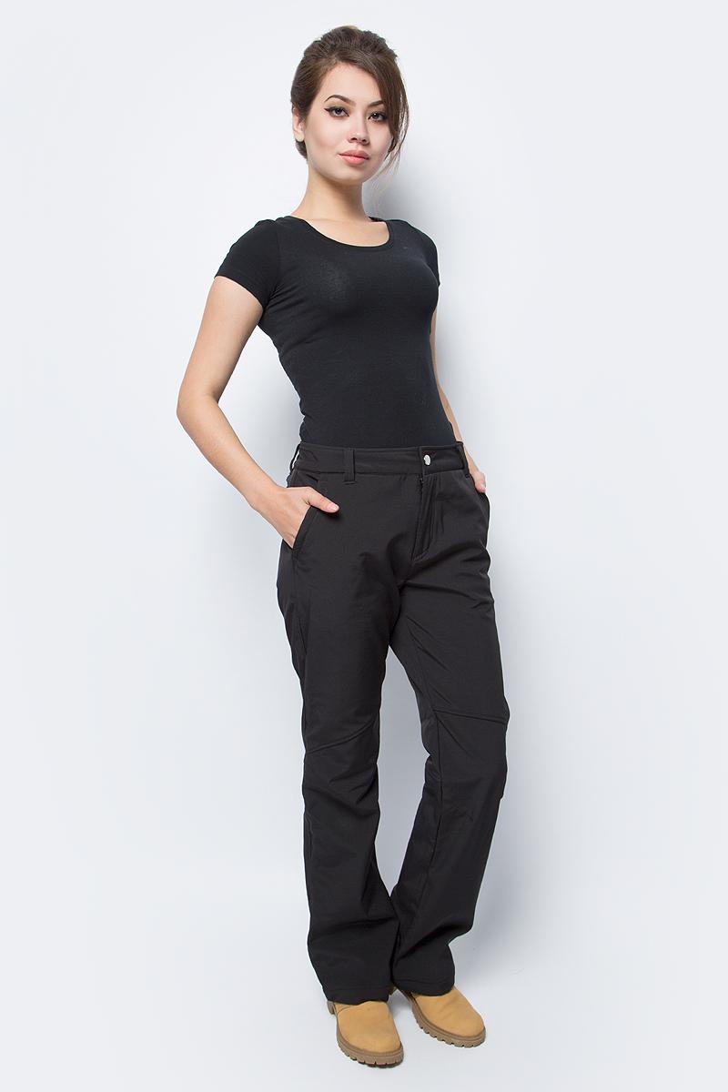 Брюки женские Luhta, цвет: черный. 838763382LV_990. Размер 44 (52)838763382LV_990Стильные женские брюки Luhta выполнены из полиэстера с добавлением эластана и дополнены прострочкой. Модель спереди оформлена двумя прорезными карманами. Спереди брюки застегиваются при помощи застежки- молнии и пуговицы. Также модель оснащена шлевками для ремня.