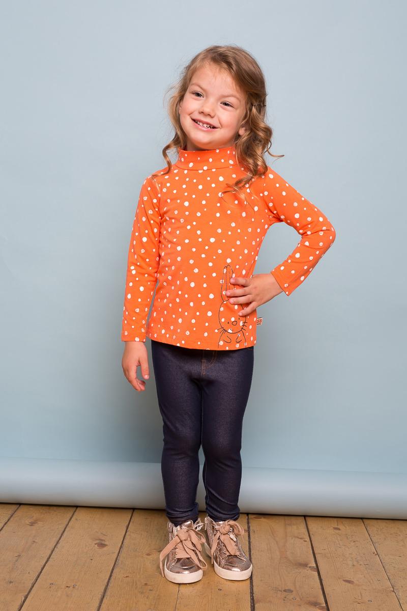 Водолазка для девочки Sweet Berry Baby, цвет: оранжевый. 732066. Размер 80732066Яркая водолазка Sweet Berry Baby выполнена из трикотажной ткани с оригинальным печатным рисунком и принтом. Воротник-стойка застегивается на кнопочки.