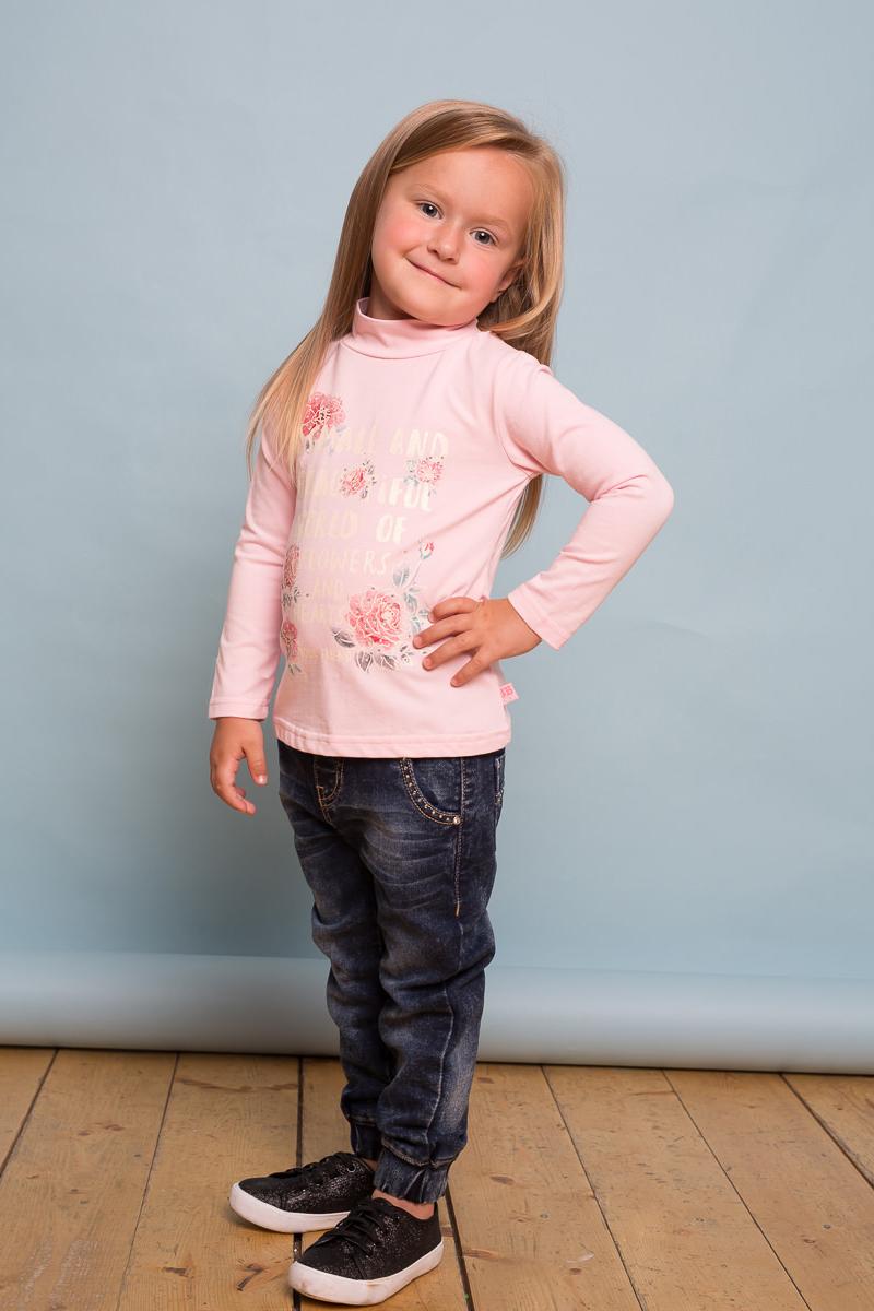 Водолазка для девочки Sweet Berry Baby, цвет: розовый. 732107. Размер 92732107Хлопковая водолазка Sweet Berry Baby для девочки выполнена из трикотажной ткани, декорированной ярким цветочным принтом и стразами. Воротник-стойка застегивается на кнопочки.