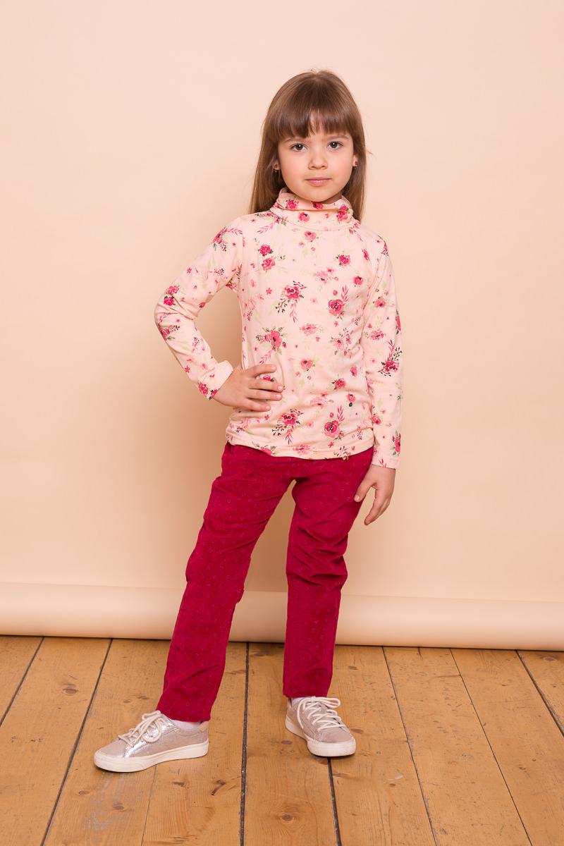 Водолазка для девочки Sweet Berry, цвет: мультиколор. 734151. Размер 110734151Яркая водолазка из трикотажной ткани для девочки с оригинальным печатным рисунком. Воротник-стойка декорирован эластичной сборкой.