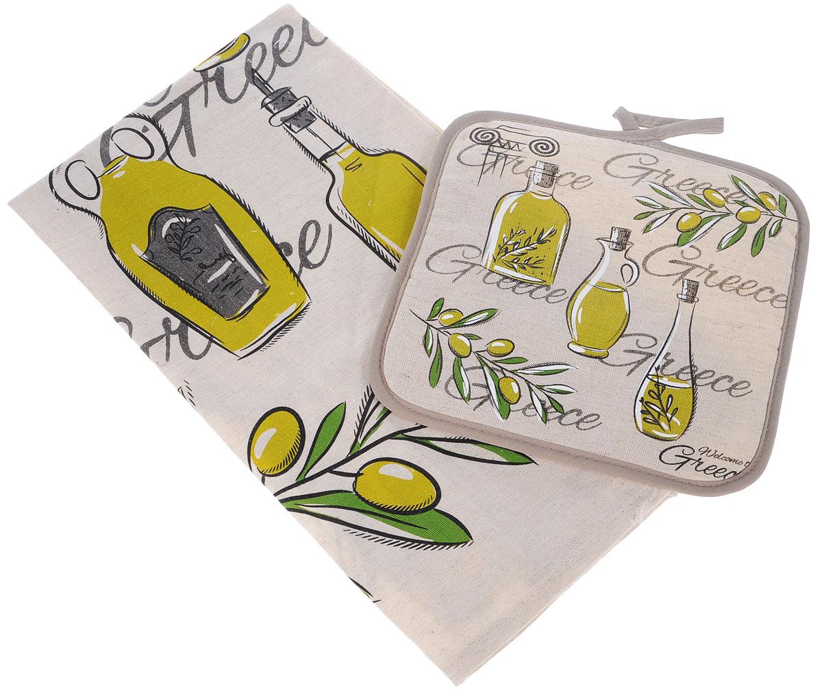Набор кухонный LarangE От Шефа. Оливы, 2 предмета627-002_оливыКухонный набор От Шефа, выполненный из 50% хлопка и 50% льна, состоит из прихватки и прямоугольного полотенца. Полотенце прекрасно впитывает влагу, легко стирается, хорошо сохраняет форму и цвет. Прихватка удобная, мягкая и практичная. Она защитит ваши руки и предотвратит появление ожогов. С помощью текстильной петельки прихватку можно подвесить на крючок.Кухонный набор станет незаменимым помощником на вашей кухне. Яркий и оригинальный дизайн вдохновит вас на новые кулинарные шедевры. Размер полотенца: 45 х 60 см. Размер прихватки: 18 х 18 см.