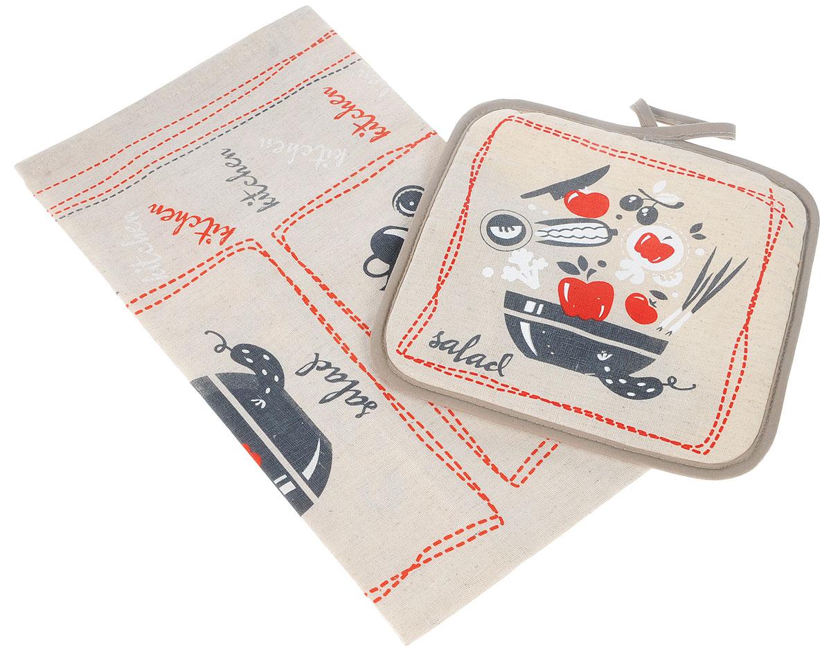 Набор кухонный LarangE От Шефа, 2 предмета. 627-002627-002_суп, салатКухонный набор От Шефа, выполненный из 50% хлопка и 50% льна, состоит из прихватки и прямоугольного полотенца. Полотенце прекрасно впитывает влагу, легко стирается, хорошо сохраняет форму и цвет. Прихватка удобная, мягкая и практичная. Она защитит ваши руки и предотвратит появление ожогов. С помощью текстильной петельки прихватку можно подвесить на крючок.Кухонный набор станет незаменимым помощником на вашей кухне. Яркий и оригинальный дизайн вдохновит вас на новые кулинарные шедевры. Размер полотенца: 45 х 60 см. Размер прихватки: 18 х 18 см.