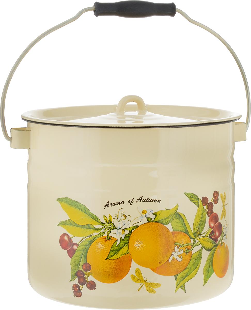 Ведро эмалированное Лысьвенские эмали Апельсины, с крышкой, цвет: желтый, 9 лС-1221Ц/4Рб_апельсин, желтыйВедро эмалированное Лысьвенские эмали изготовлено из высококачественной стали с эмалированным покрытием. Эмалевое покрытие, являясь стекольной массой, не вызывает аллергию и надежно защищает пищу от контакта с металлом. Кроме того, такое покрытие долговечно, устойчиво к механическому воздействию, не царапается и не сходит, а стальная основа практически не подвержена механической деформации, благодаря чему срок эксплуатации увеличивается.Ведро снабжено крышкой и металлической ручкой с пластиковой вставкой для комфортной переноски. Внешние стенки дополнены красочным рисунком. Эмалированное ведро является универсальным хозяйственным инвентарем, оно отличается долговечностью и имеет высокую устойчивость к износу при длительном сроке эксплуатации. Такое ведро подходит для хранения и переноски продуктов и воды, а также для готовки и хранения заготовок. В нем можно солить грибы, хранить молоко, готовить варенье, квасить капусту, солить огурцы и многое другое.Диаметр ведра: 24 см. Высота ведра: 20 см.