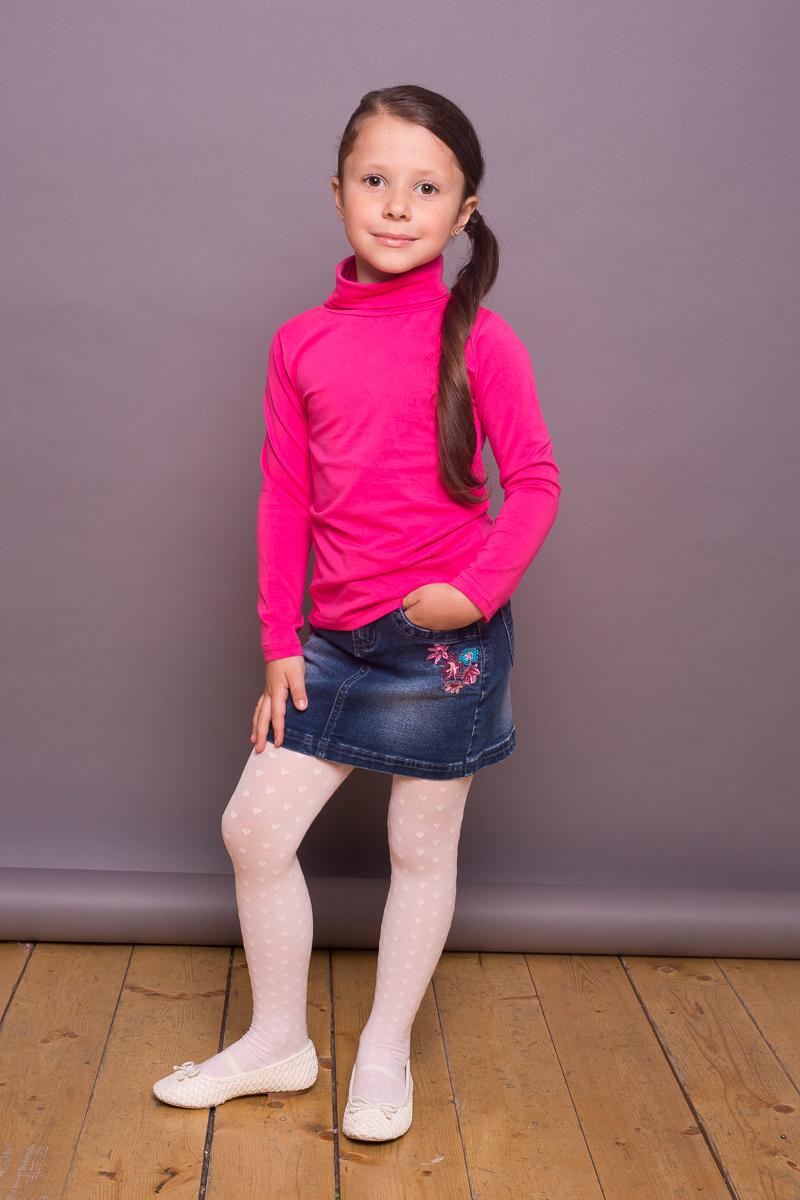 Водолазка для девочки Sweet Berry, цвет: ярко-розовый. 734159. Размер 128734159Классическая хлопковая водолазка для девочки от Sweet Berry выполнена из трикотажной ткани. Модель с длинными рукавами и воротником-гольф.