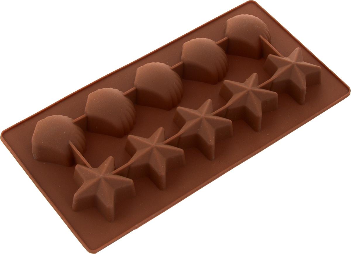 Форма для льда Marmiton Звездочки и ракушки, цвет: коричневый, 10 ячеек16002_коричневыйФорма Marmiton Звездочки и ракушки выполнена из силикона и предназначена для приготовления выпечки, мармелада или замораживания льда. На одном листе расположено 10 ячеек в виде звездочек и ракушек. Благодаря тому, что форма изготовлена из силикона, готовый десерт вынимать легко и просто.Материал устойчив к фруктовым кислотам, к воздействию низких и высоких температур. Не взаимодействует с продуктами питания и не впитывает запахи. Силикон абсолютно безвреден для здоровья. Чтобы достать лед, эту форму не нужно держать под теплой водой или использовать нож.Подходит для использования в духовке и микроволновой печи. Можно мыть в посудомоечной машине. Общий размер формы: 21 х 10,5 х 2,5 см.Количество ячеек: 10 шт. Размер ячеек (в виде ракушек): 3,5 х 3,5 х 2 см. Размер ячеек (в виде звездочек): 4 х 3,5 х 2 см.