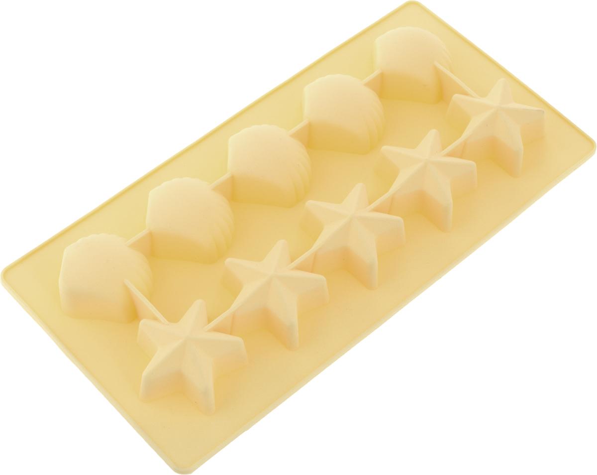 Форма для льда Marmiton Звездочки и ракушки, цвет: желтый, 10 ячеек16002_желтыйФорма Marmiton Звездочки и ракушки выполнена из силикона и предназначена для приготовления выпечки, мармелада или замораживания льда. На одном листе расположено 10 ячеек в виде звездочек и ракушек. Благодаря тому, что форма изготовлена из силикона, готовый десерт вынимать легко и просто.Материал устойчив к фруктовым кислотам, к воздействию низких и высоких температур. Не взаимодействует с продуктами питания и не впитывает запахи. Силикон абсолютно безвреден для здоровья. Чтобы достать лед, эту форму не нужно держать под теплой водой или использовать нож.Подходит для использования в духовке и микроволновой печи. Можно мыть в посудомоечной машине. Общий размер формы: 21 х 10,5 х 2,5 см.Количество ячеек: 10 шт. Размер ячеек (в виде ракушек): 3,5 х 3,5 х 2 см. Размер ячеек (в виде звездочек): 4 х 3,5 х 2 см.