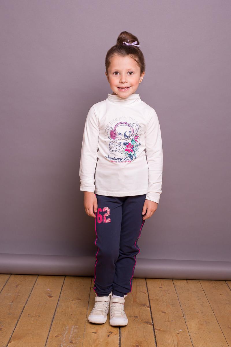 Водолазка для девочки Sweet Berry, цвет: слоновая кость. 734072. Размер 98734072Хлопковая водолазка из трикотажного полотна для девочки с оригинальным принтом. Воротник- стойка декорирован эластичной сборкой.