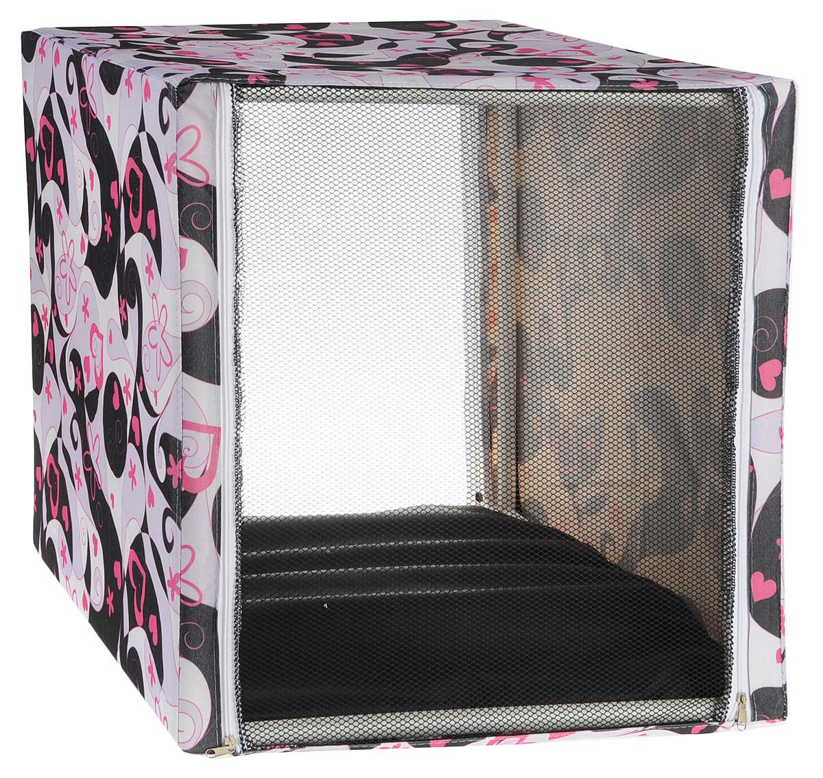 Клетка выставочная Заря-плюс  Сердца , цвет: белый, черный, розовый, 56 х 56 х 56 см - Клетки, вольеры, будки
