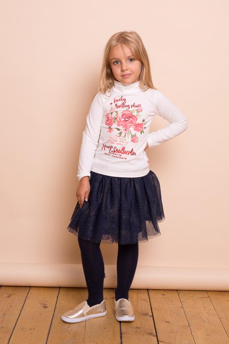 Водолазка для девочки Sweet Berry, цвет: слоновая кость. 734138. Размер 122734138Хлопковая водолазка из трикотажного полотна для девочки с оригинальным цветочным принтом и стразами. Воротник-стойка.