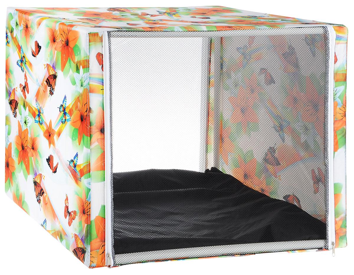 Клетка выставочная Заря-плюс Бабочки, цвет: белый, оранжевый, зеленый, 76 х 56 х 56 смКВР1цбВыставочная клетка Заря-плюс Бабочки отличный выбор для участия на любой российской или международной кошачьей выставке. Выставочные клетки для кошек Заря-плюс Бабочки обладают многочисленными преимуществами: - лицевая сторона палатки выполнена из пленки, которая пристегивается с помощью молнии; - обратная сторона палатки выполнена из сетки, которая также пристегивается с помощью молнии; - боковые стороны палатки закрытые; - палатка выполнена из прочной, высококачественной, водонепроницаемой ткани; - палатка разборная; в комплект входит сборный каркас из пластиковых труб вместе с соединительными уголками, который собирается просто и быстро; - в сложенном виде палатка довольно компактна, при хранении занимает мало места; - палатка переносится в чехле, который входит в комплект; - для удобной переноски чехол имеет короткую и длинную ручки, также на чехле имеется 2 больших кармана на молнии; - в комплект входит матрац со съемным чехлом на молнии; при необходимости матрац легко снимается для стирки. Обратите внимание, что данная выставочная клетка имеет жесткую и очень прочную конструкцию, благодаря чему во время выставки вы можете смело сажать кошку на палатку сверху.Выставочная клетка Заря-плюс Бабочки отлично подойдет для кошки любой породы.