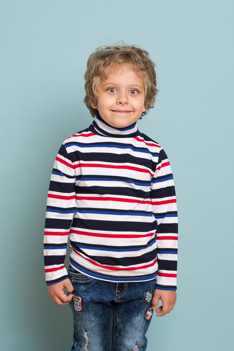 Водолазка для мальчика Sweet Berry, цвет: белый, темно-синий, красный. 733010. Размер 104