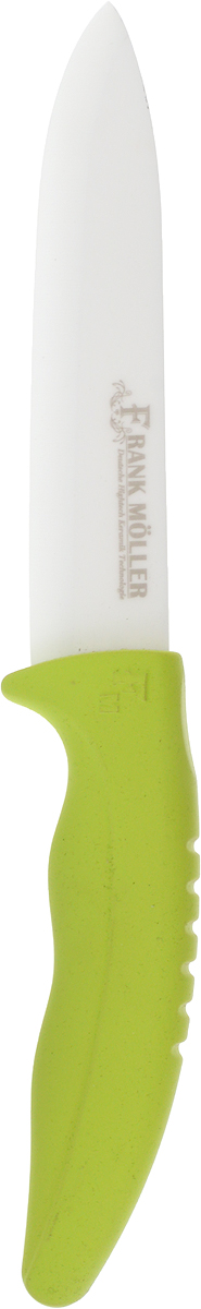 Нож универсальный Frank Moller Sabina, цвет: салатовый, белый, длина лезвия 12,5 смFM-414Универсальный нож Frank Moller Sabina отлично справится с нарезкой любых продуктов. Уникальное керамическое лезвие из коррозионностойкого материала обеспечивает идеальное нарезание продуктов. Нож не оставляет металлического привкуса на пище, не намагничивается, пища не прилипает к поверхности ножа. Эргономичная ручка с прорезиненным покрытием Soft-Touch предназначена для удобной и безопасной нарезки. Можно мыть в посудомоечной машине. Длина ножа: 24 см.