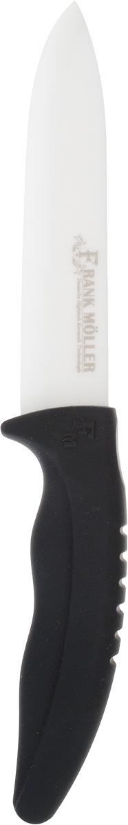 Нож универсальный Frank Moller Sabina, цвет: черный, белый, длина лезвия 12,5 смFM-411Универсальный нож Frank Moller Sabina отлично справится с нарезкой любых продуктов. Уникальное керамическое лезвие из коррозионностойкого материала обеспечивает идеальное нарезание продуктов. Нож не оставляет металлического привкуса на пище, не намагничивается, пища не прилипает к поверхности ножа. Эргономичная ручка с прорезиненным покрытием Soft-Touch предназначена для удобной и безопасной нарезки. Можно мыть в посудомоечной машине. Длина ножа: 24 см.