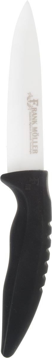 Нож для очистки овощей Frank Moller Sabina, цвет: черный, белый, длина лезвия 10 смFM-415Нож Frank Moller Sabina отлично справится с нарезкой и очисткой овощей и фруктов. Уникальное керамическое лезвие из коррозионностойкого материала обеспечивает идеальное нарезание продуктов. Нож не оставляет металлического привкуса на пище, не намагничивается, пища не прилипает к поверхности ножа. Эргономичная ручка с прорезиненным покрытием Soft-Touch предназначена для удобной и безопасной нарезки. Можно мыть в посудомоечной машине.Длина ножа: 20 см.