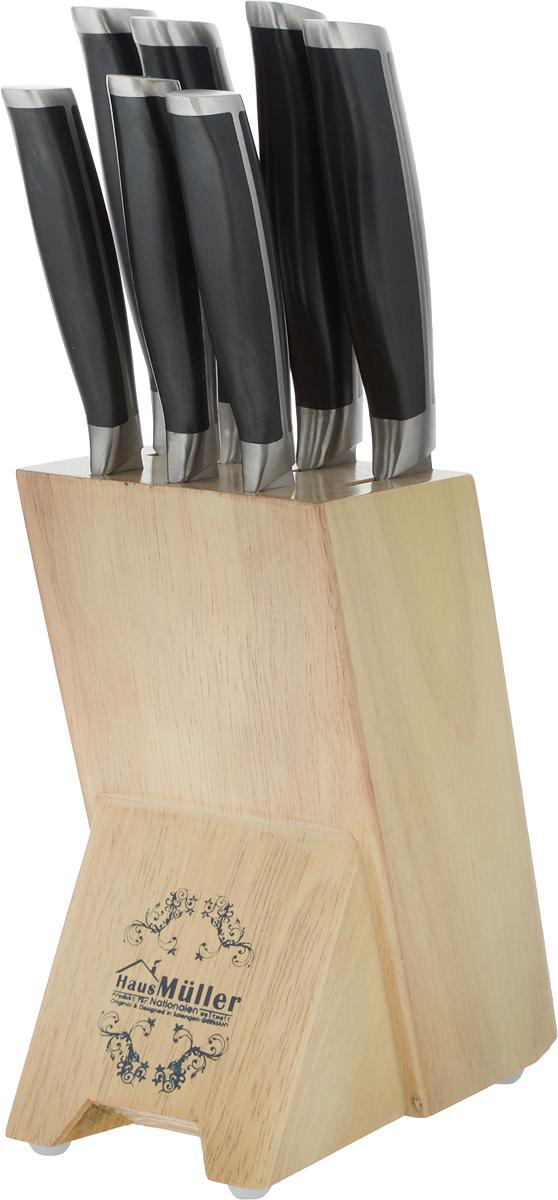 """Набор ножей Haus Muller """"Melina"""" включает 7 ножей (профессиональный нож, нож для хлеба, разделочный нож, нож для снятия мяса с костей, сервировочный нож, острый столовый нож, нож гибкий для чистки овощей). Для лезвий использована сверхтвердая сталь высокого качества, которая изготавливается при помощи точной горячей штамповки. Лезвия долгое время сохраняют остроту и полировку. Они обеспечивают идеальное нарезание продуктов, при этом не оставляют металлического привкуса на пище, не намагничиваются, пища не прилипает к поверхности ножа. Эргономичная ручка предназначена для удобной и безопасной нарезки. Ее удобно держать в руке. Материал, из которого она сделана, препятствует скольжению, даже если вы беретесь за нее масляными руками. Поверхность ручки также препятствует проникновению и распространению бактерий. Для компактного хранения набора предусмотрена прочная подставка, выполненная из каучука и дерева. Ножи с долговечным и необычайно твердым лезвием обеспечивают качественное нарезание и затачивание благодаря металлу высокой степени чистоты. Благодаря оптимальной форме ножа гарантирована ровная нарезка и легкое затачивание. Виды ножей в наборе: - Профессиональный нож. Это универсальный нож для профессиональных поваров и любителей, которым удобно резать зелень, овощи, а также нарезать ломтиками и кубиками рыбу и мясо. - Нож для хлеба. Острое зубчатое лезвие легко и ровно режет твердые корки. - Нож для снятия мяса с костей. Благодаря лезвию с изогнутой кромкой им удобно вырезать кости и удалять жир и сухожилия. - Разделочный нож. Нож идеально подходит для нарезания тончайшими ломтиками лосося или ветчины, а также для отделения сырной корки. - Острый столовый нож. Благодаря прямому лезвию вы можете резать жареное или запеченное на гриле мясо легко и ровно. - Сервировочный нож. Лезвие легко режет сосиски, сыр, помидоры и багеты. - Нож для чистки овощей. Нож в форме клинка двухсторонний применяется для очищения кожуры, шинковки, а также для приготовления холодных блюд. """