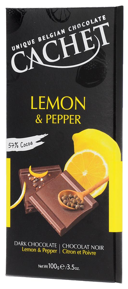 Cachet шоколад темный со вкусом и ароматом лимона и черного перца 57% какао, 100 гМС-00007459Шоколад темный со вкусом и ароматом лимона и черного перца приготовлен по традиционному бельгийскому рецепту специально для любителей пикантного вкуса.Продукция компании популярна во всем мире благодаря своему высокому качеству и изысканному дизайну. Вся продукция изготавливается по оригинальной старинной бельгийской рецептуре, которая придает шоколаду незабываемый и неповторимый вкус.Лучшие ингредиенты, современные технологии и строгий контроль на всех этапах производства гарантируют высокое качество продукции.