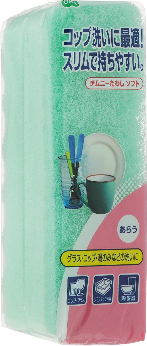 Губка для посуды Ohe Chimuny Soft Sponge, двухслойная, верхний слой средней жесткости, цвет: зеленый, 15 х 5 х 4,5 см50299_зеленыйДвухслойная губка Ohe Chimuny Soft Sponge предназначена для чистки и мытья изделий из пластика, стекла, эмалированной посуды, керамики, посуды, покрытой пластиком, кухонных приборов из нержавеющей стали. Особенности изделия:- нетканый материал на внешней стороне губки прекрасно удаляет загрязнения и не царапает поверхность,- мягкая губка создает большое количество пены, полностью очищает поверхность от грязи,- является безопасным продуктом, поскольку для склеивания не используются растворители и другие опасные вещества.Состав: нетканая поверхность - нейлон, губка - полиуретан. Выдерживает температуру до 90°С.