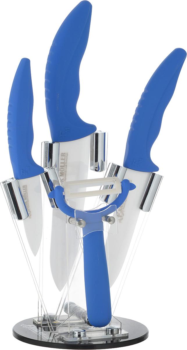 Набор керамических ножей Frank Moller Helga, на подставке, 5 предметов, цвет: синий. FM-372FM-372Набор Frank Moller Helga включает 3 керамических ножа (поварской нож, универсальный нож, нож для овощей) и овощечистку. Уникальное керамическое лезвие из коррозионностойкого материала обеспечивает идеальное нарезание продуктов. Ножи не оставляют металлического привкуса на пище, не намагничиваются, пища не прилипает к поверхности ножа. Эргономичная ручка с прорезиненным покрытием Soft-Touch предназначена для удобной и безопасной нарезки. Для компактного хранения набора предусмотрена круглая акриловая подставка. Ножи можно мыть в посудомоечной машине. Длина лезвия поварского ножа: 15 см. Длина поварского ножа: 27 см. Длина лезвия универсального ножа: 12,5 см. Длина универсального ножа: 24 см. Длина лезвия ножа для овощей: 7,5 см. Длина ножа для овощей: 17,5 см. Длина овощечистки: 13 см. Длина лезвия овощечистки: 4 см. Размер подставки: 12,5 х 12,5 х 18,5 см.