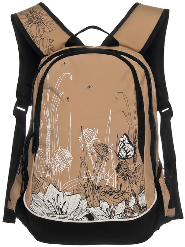 Рюкзак молодежный женский Grizzly, цвет: бежевый, 13 л. RD-756-3/3 рюкзаки grizzly рюкзак