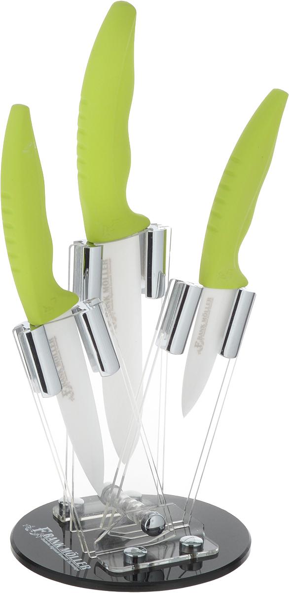 Набор керамических ножей Frank Moller Florence, на подставке, цвет: салатовый, белый, 4 предметаFM-402Набор Frank Moller Florence включает 3 керамических ножа (универсальный нож, 2 ножа для очистки овощей). Уникальное керамическое лезвие из коррозионностойкого материала обеспечивает идеальное нарезание продуктов. Ножи не оставляют металлического привкуса на пище, не намагничиваются, пища не прилипает к поверхности ножа. Эргономичная ручка с прорезиненным покрытием Soft-Touch предназначена для удобной и безопасной нарезки. Для компактного хранения набора предусмотрена круглая акриловая подставка. Ножи можно мыть в посудомоечной машине. Длина лезвия универсального ножа: 12,5 см. Длина универсального ножа: 24 см. Длина лезвия ножей для очистки овощей: 10 см, 7,5 см. Длина ножей для очистки овощей: 20 см, 17,5 см. Размер подставки: 12,5 х 12,5 х 17 см.