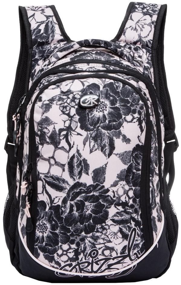 Рюкзак молодежный женский Grizzly, цвет: белый, черный, 13,5 л. RD-635-1/8RD-635-1/8Женский рюкзак Grizzly изготовлен из полиэстера и имеет три главных отделения, закрывающиеся застежки-молнии, два боковых кармана из сетки, внутренний карман-пенал для карандашей. Рюкзак оснащен двумя широкими мягкими лямками регулируемой длины и удобной короткой ручкой.