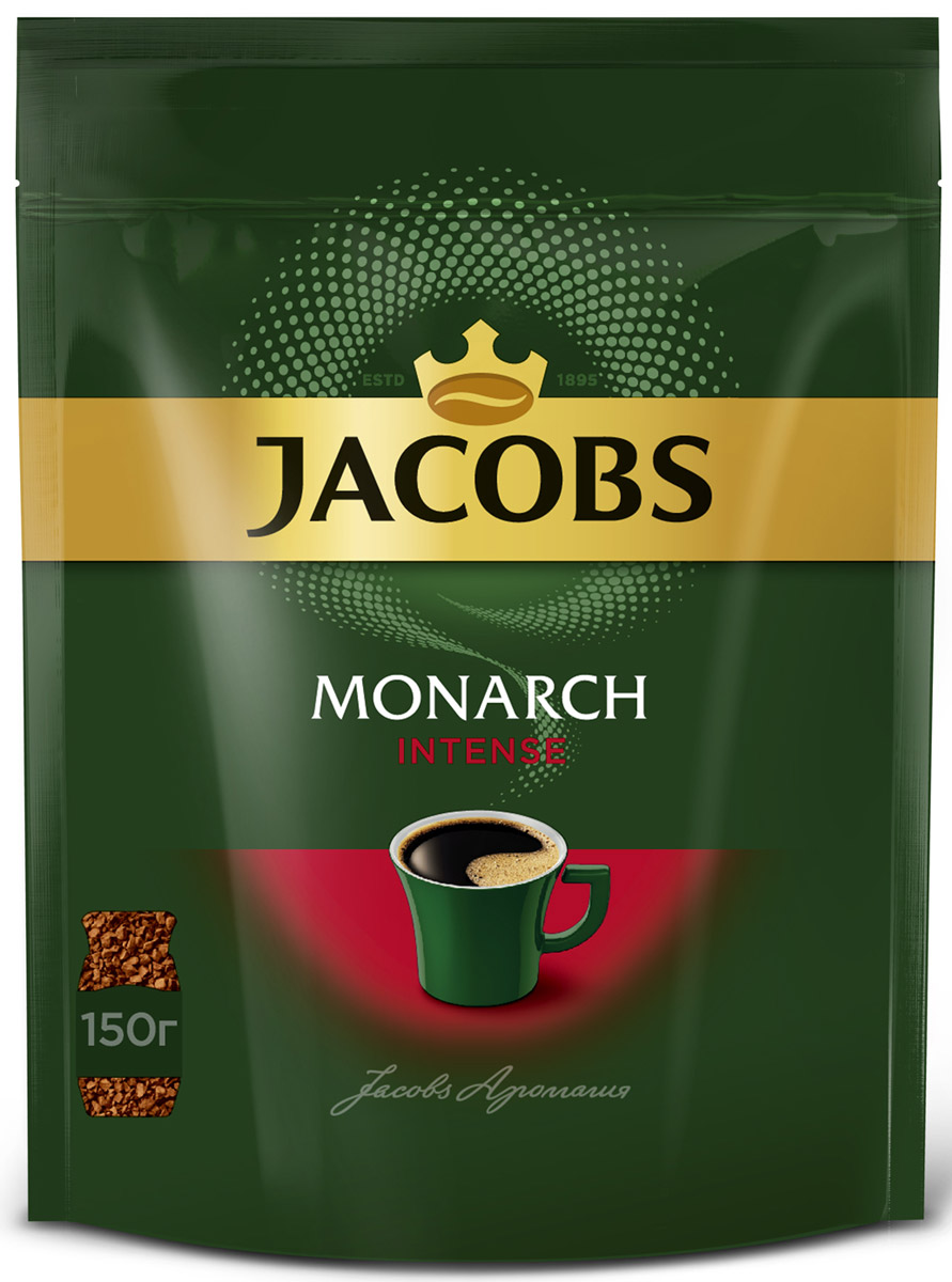 Jacobs Monarch Intense кофе растворимый, 150 г jacobs monarch кофе молотый 70 г