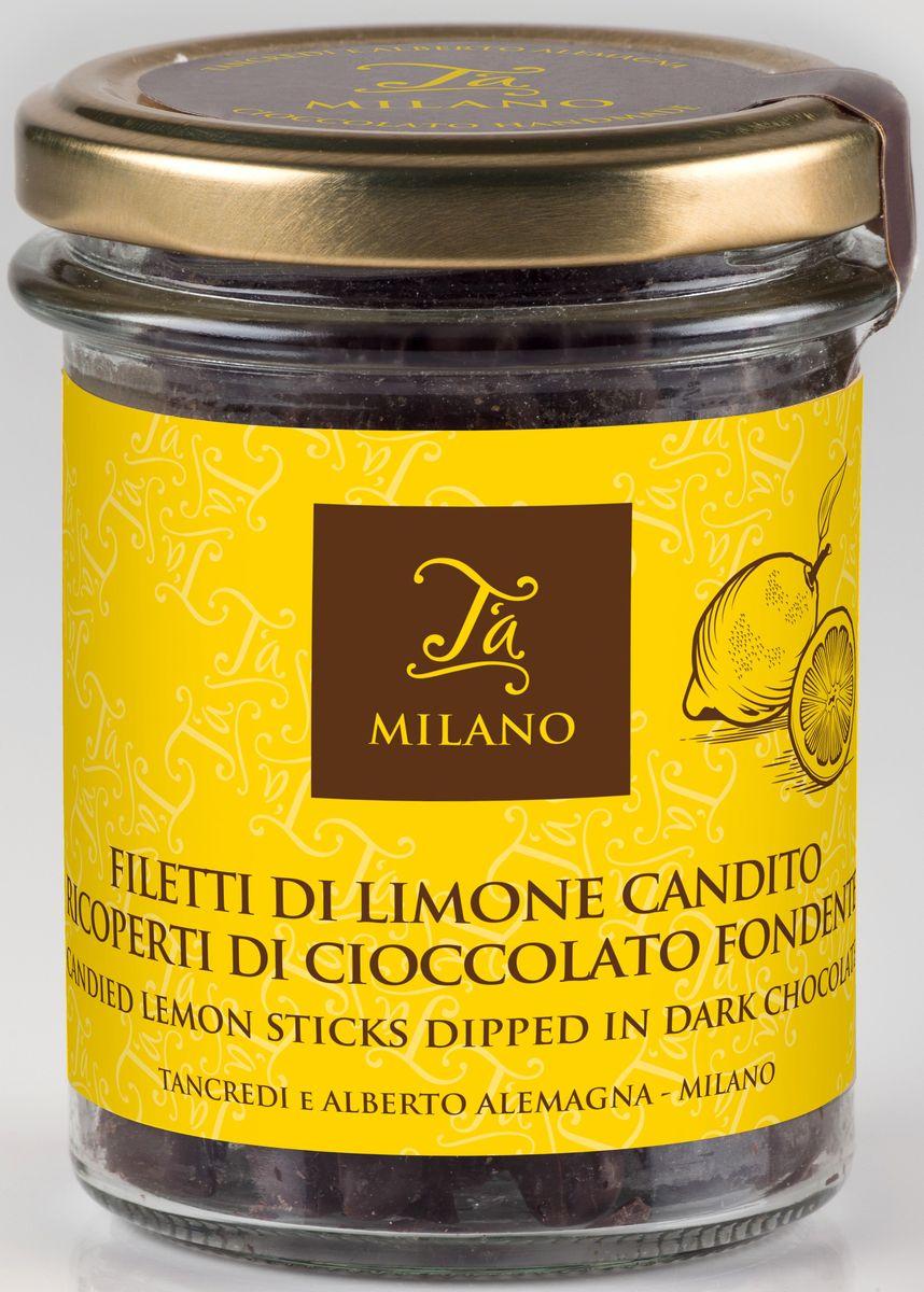 Ta Milano цукаты из лимона в горьком шоколаде 66% какао, 120 гК81033Восхитительные цукаты из лимона в форме палочек, покрытые темным шоколадом.