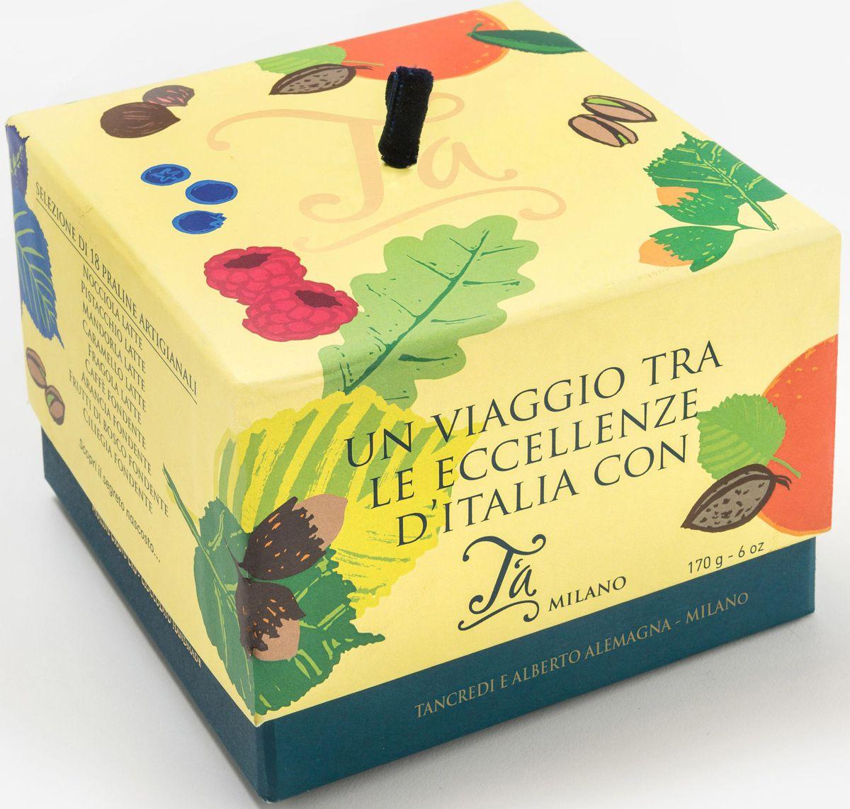 Ta Milano пралине ручной работы с сюрпризом, 170 гК84102Путешествие по итальянскому совершенству, со вкусами фундука, фисташки, миндаля, клубники, засахаренного каштана, кофе, апельсина, микса ягод и амаретто. Упаковка обладает отличительной чертой, которая делает продукт идеальным подарком: дно скрывает секрет - шоколад с пожеланием
