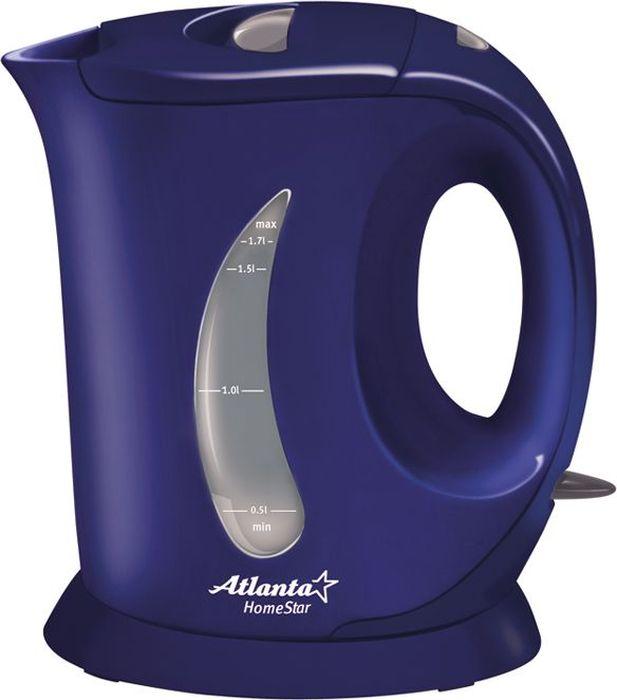 Atlanta ATH-735, Blue чайник электрический77.858@18013Электрический чайник Atlanta ATH-735 прост в управлении и долговечен в использовании. Изготовлен из высококачественных материалов. Мощность 2000 Вт позволит вскипятить 1,7 литра воды в считанные минуты. Для обеспечения безопасности при повседневном использовании предусмотрены функция автовыключения, а также защита от включения при отсутствии воды.