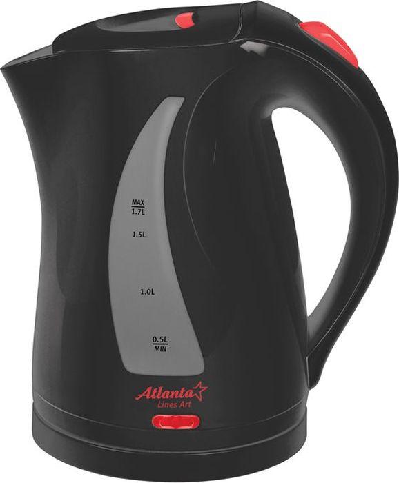 Atlanta ATH-673, Black чайник электрический77.858@18108Электрический чайник Atlanta ATH-673 прост в управлении и долговечен в использовании. Изготовлен из высококачественных материалов. Мощность 2000 Вт позволит вскипятить 2 литра воды в считанные минуты. Беспроводное соединение позволяет вращать чайник на подставке на 360°. Для обеспечения безопасности при повседневном использовании предусмотрены функция автовыключения, а также защита от включения при отсутствии воды.