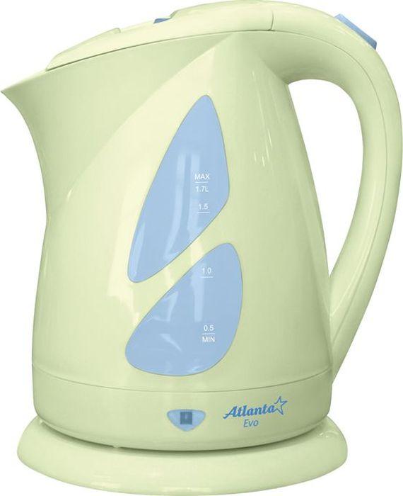 Atlanta ATH-643, Green чайник электрический77.858@20030Электрический чайник Atlanta ATH-643 прост в управлении и долговечен в использовании. Изготовлен из высококачественных материалов. Мощность 2000 Вт позволит вскипятить 1,7 литра воды в считанные минуты. Беспроводное соединение позволяет вращать чайник на подставке на 360°. Для обеспечения безопасности при повседневном использовании предусмотрены функция автовыключения, а также защита от включения при отсутствии воды.