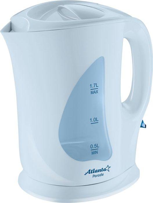 Atlanta ATH-723, Blue чайник электрический77.858@20032Электрический чайник Atlanta ATH-723 прост в управлении и долговечен в использовании. Изготовлен из высококачественных материалов. Мощность 2000 Вт позволит вскипятить 1,7 литра воды в считанные минуты. Для обеспечения безопасности при повседневном использовании предусмотрены функция автовыключения, а также защита от включения при отсутствии воды.