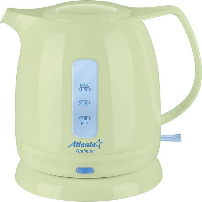 Atlanta ATH-616, Green чайник электрический77.858@21610Чайник Atlanta ATH-616 - удивительно практичная модель, которая отличается своими прекрасными эксплуатационными качествами и простым дизайном.Корпус чайника выполнен из высококачественного теплоустойчивого пластика.Чайник имеет скрытый нагревательный элемент, что является его неоспоримым преимуществом. Подобная конструкция элемента не позволяет накипи повредить чайник. На приборе установлены индикаторы уровня воды для того, чтобы вы смогли контролировать объем нагреваемой воды.Автоматическое отключение при закипании воды и при отсутствии воды.Фильтр от накипи гарантирует, что в чашке у вас будет чистая вода без осадка.Беспроводное соединение позволяет вращать чайник на подставке на 360°.